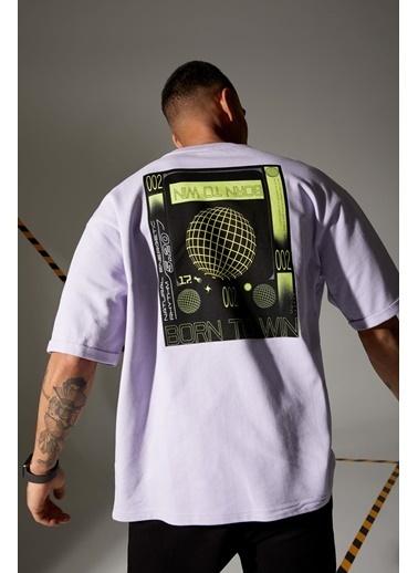 DeFacto Sırtı Baskılı Oversize Fit Bisiklet Yaka Pamuklu T-shirt Mor